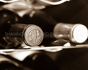 Wine Photography Sepia or Black and White Wine Bottles Photo Print Wine Rack Winery Restaurant Bar Kitchen Art Dining Vineyard Wine Country