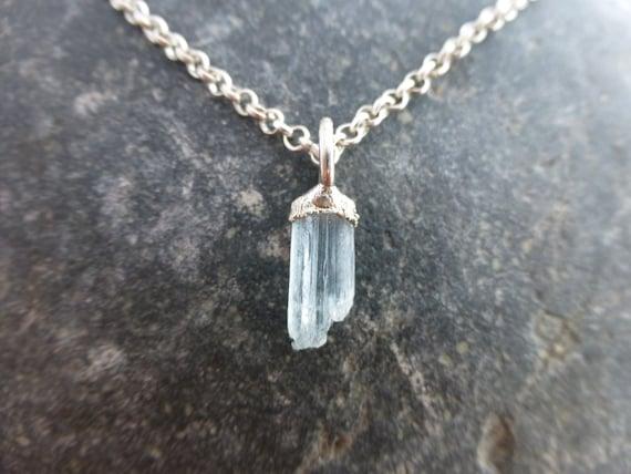 natural colorado aquamarine and silver pendant mt antero mt
