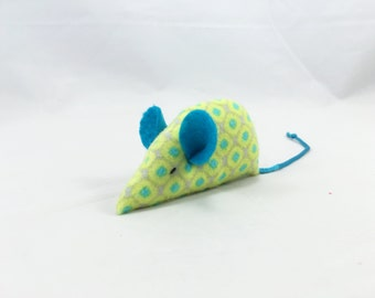 Catnip Mouse Cat Toy, aqua green blue
