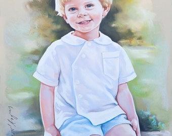 Children portraits, 3/4 figure Pastel portrait of a child