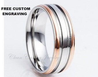 Titanium Wedding Band,Rose Gold Titanium,Tow Tone,Titanium Ring,Titanium Band ,Grooved,Engagement Band,Anniversary Ring,8mm