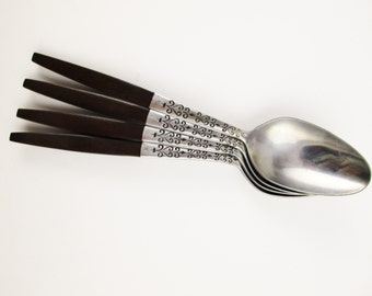Four Oval Soup Spoons - 'Interpur' Pattern INR2 - MCM Flatware - Stainless With Teak-look Handles - Canoe Style Handles - Stainless, Japan