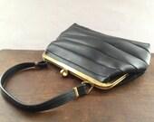 Soviet Vintage classic handbag for ladies Small black handbag Classic accessory Retro purse USSR era bag