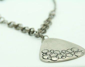 Chain Mail Necklace, White Bronze and Bubbles Print