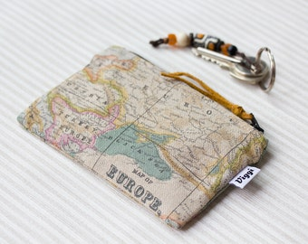Little coin purse, world map change pouch, earbud case, useful little gift