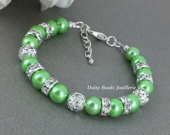 Lime Green Bracelet, Bridesmaids Gift, Bridesmaid Bracelet, Lime Green Bracelet and Earrings, Lime Pearl Bracelet, Lime Wedding