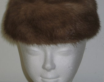 Vintage Mid Century 1950s 1960s Womans Genuine Mink Fur Hat with Wool Crown By MISS ALICE Classic Chic