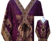 70's Purple Caftan Dress / Beach Cover Up with Adjustable Drawstring Waist - Open Sizing