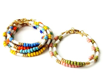 Boho Bracelet Set African Seed Bead Bracelet Stacking Bracelet - SET of 2 - Boho Jewelry Bohemian Jewelry Hippie Jewelry Tribal Bracelet