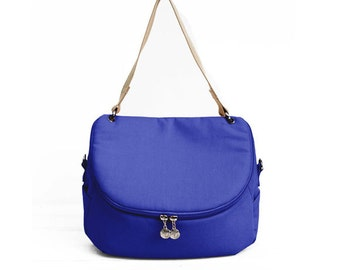 Olympian Blue Crossbody Messenger Shoulder Canvas Bag