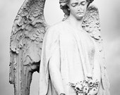 Angel Print - Wounded Angel Statue Fine Art Photograph - Irish Guardian Angel Black and White Photograph