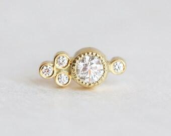 Single Diamond Earring, Diamond Gold Stud, Round Diamond Earring, Round Diamond Stud, Gemstone Earring, Gold Diamond Stud