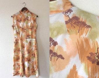 Vintage 1960s Novelty Dress / 60s 70s Tree Print Novelty Peach Skater Dress with Mock Collar - Large