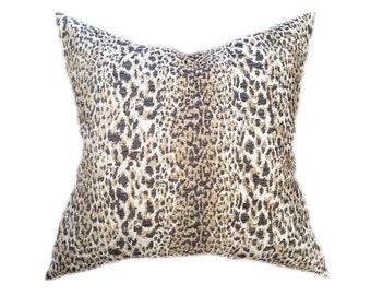 "Leopard Print Pillow- Gray, Tan, and Cream Animal Print Designer Pillow Cover- Accent Pillow- Throw Pillow- Holds 22"" Insert"