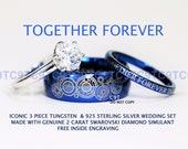 BLUE Doctor Who Inspired His 8mm Tungsten and Hers 3mm 925 Sterling Silver 2 Carat Solitaire CZ Wedding Ring Set,