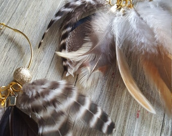 Gold Hoop Feather Earrings