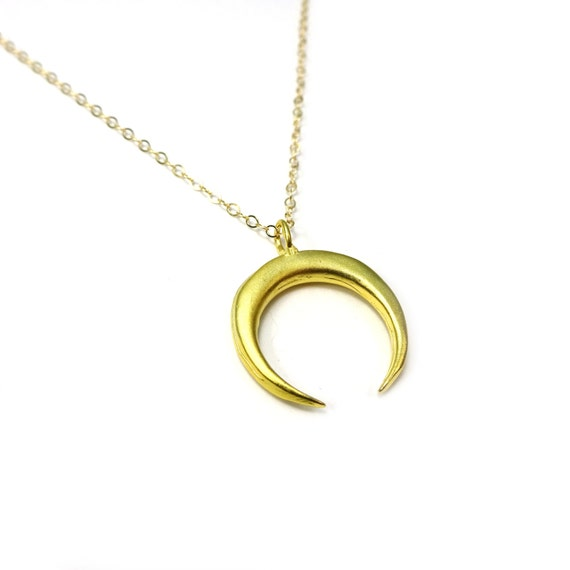 Crescent Horn Necklace: Gold Double Horn Necklace Gold Horn Gold Moon Necklace Gold