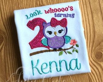 Look whoooo's turning 2 Birthday Shirt- Girls Birthday Shirt- Girls Owl Birthday Shirt- Girls Birthday Bodysuit- Owl Birthday Shirt