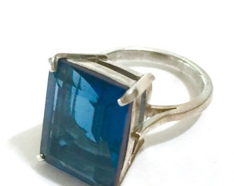 Sterling Silver Solitaire Ring, Steely Blue Quartz Emerald Cut Stone, 925 Sterling Silver, Statement Ring, US Size 6