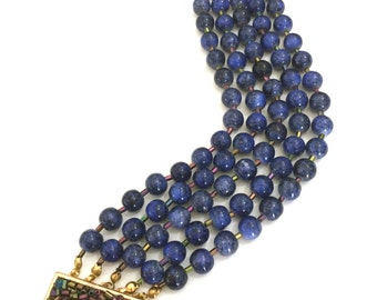 Five Strand Beaded Bracelet, Lapis Blue Glass Beads, Iridescent Bugle Beads, Fancy Clasp of Gold Tone Metal Bugle Beads