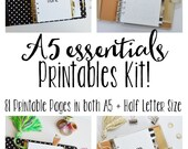 A5 Printable Planner, Printable Inserts, Meal Planning, Cleaning, Budgeting, & Fitness Inserts! 81+Pages!! A5 AND Half Letter Size