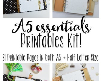 50% OFF A5 Printable Planner, Printable Inserts, Meal Planning, Cleaning, Budgeting, & Fitness Inserts! 81+Pages!!