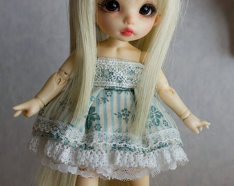 Light blue lace dress set for Pukifee or similar sized dolls