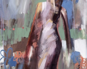 figurative painting - abstract blue - Giclee' print - FREE US SHIPPING