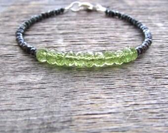 August Birthstone Bracelet, Peridot Bracelet, Mystic Spinel Bracelet, Peridot Jewelry, Bead Bracelet, Stack Bracelet, Gemstone Bracelet