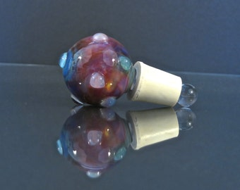 Handmade Glass Wine Bottle Stopper - Swirled Rainbow of Colors with Clear Bumps