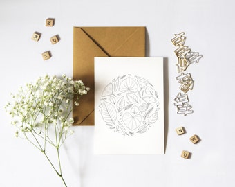 Leaf Mandala Greeting Card