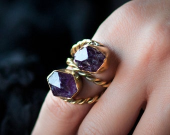 Raw double amethyst purple quartz crystals antique gold ring witch bulky boho women- made in bronze