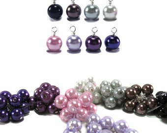 Bead Dangles - 8mm Glass Pearl Bead Charms in Black White Gray Purple - Dangle Charms for DIY Jewelry and Charm Bracelets