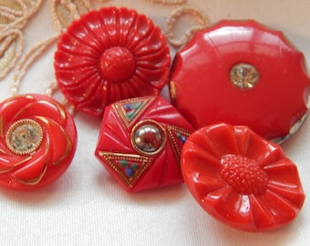 Red Glass Buttons - Vintage Designs and Shapes including Paste Stones 5