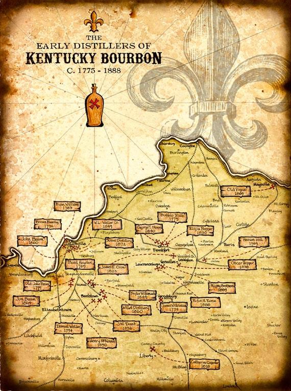 Kentucky Bourbon Distillers Art Print 11 x 15