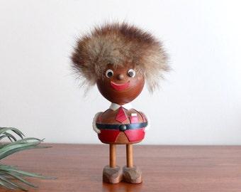 1960s signed VB Danish Teak and Fur figurine