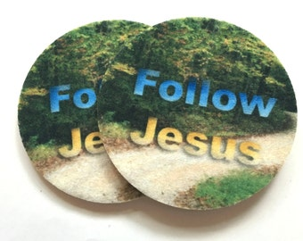 Follow Jesus car coasters - Set of two super absorbent car coasters for your car cup holder - Christian car coasters - Free Shipping