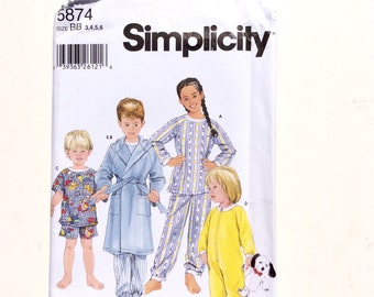 Simplicity 5874, Toddler and Child's Pajamas, Hooded Robe Pattern, Boy or Girl Pajama Pattern, Size 3-6, Uncut Pattern