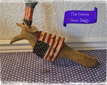 Primitive Folk Art Patriotic Americana Eagle Doll