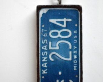 Kansas Domino Necklace 1967 Kansas License Plate Altered Upcycled