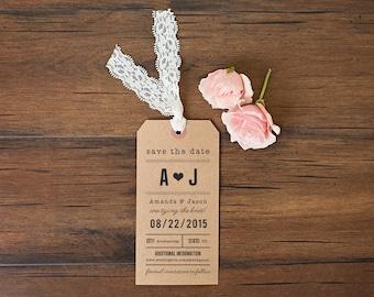 Destination Wedding Save the Date Luggage Tag \\ Kraft & Lace
