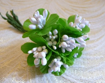 White Stamen Cluster Bundle with Leaves for Floral Crowns Dolls Crafts Millinery Craft Supply