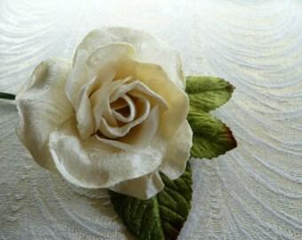 Velvet and Silk Rose Ivory Pale Lemon Millinery for Hats, Floral Arrangements, Weddings, Gowns, Corsage 3FN0075I