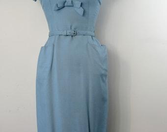 1950s Cornflower Blue Linen Wiggle Dress with Matching Bolero & Belt