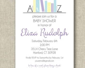 Bookshelf Baby Shower Invitation - invite - books - book - babybook