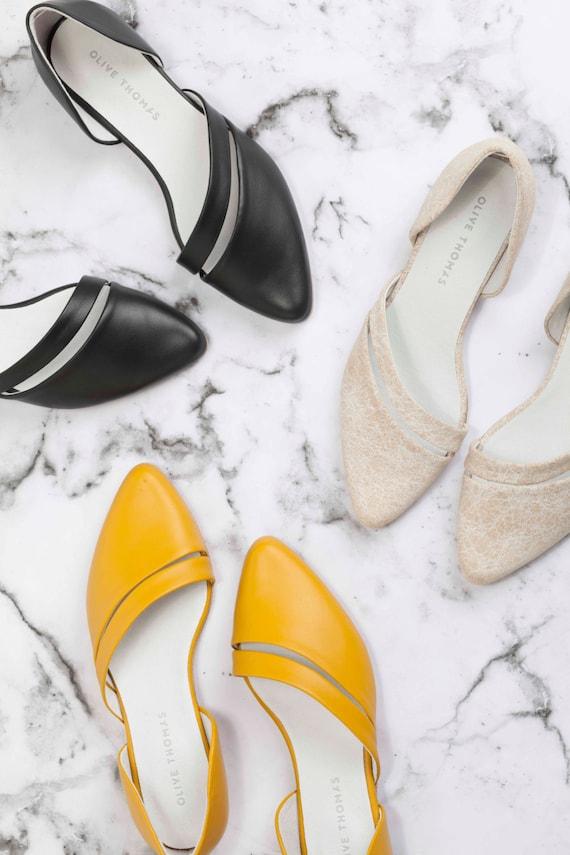 Flats, Leather Shoes, Womens Flats,  Handmade Shoes, Women Shoes, D'orsay Flats, Summer Shoes // Free Shipping