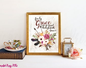 for by grace are ye saved through faith, Ephesians 2:8 instant download, Wall art, printable, christian wall,scripture, chickenscratchpress