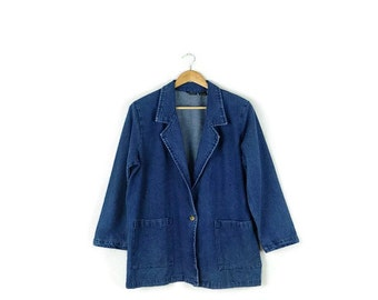 Vintage Women's Blue Denim Blazer  from 80's*