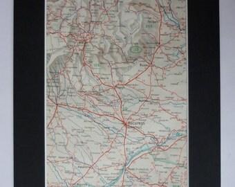 1930s Antique Map of Bucharest, Romania Decor, Available Framed, Brașov Art, Buzău Picture, Ploiești Wall Art, Focșani Print, Ruse Artwork