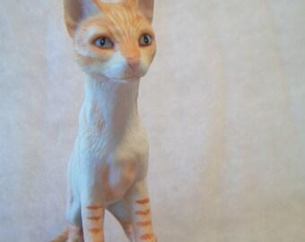 Vintage Tabby Cat Porcelain Figurine